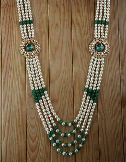 Round Shape Green Colour Moti Mala Groom Jewellery