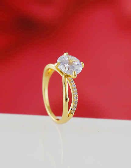 Gold Finish Fancy American Diamond Office Wear Ring For Girls