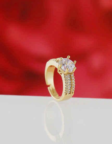 Gold Finish Stunning American Diamond Finger Rings