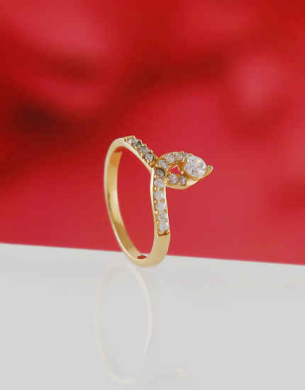 Simple Gold Finish American Diamond Finger Rings