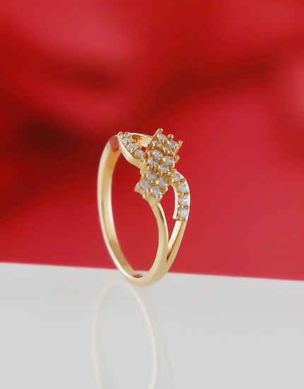 Simple Gold Finish American Diamond Rings For Girls