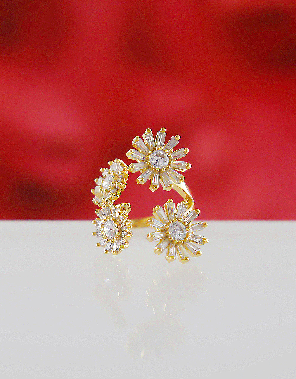 Gold Finish Floral Design American Diamond Party Wear Finger Rings