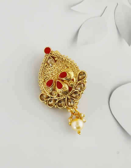 Red Colour Gold Finish Fancy Saree Brooch Pin For Women