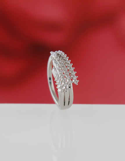 Adorable Silver Finish Artificial Diamond Finger Rings