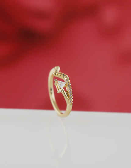Simple Delicate Gold Finish Diamond Ring For Women