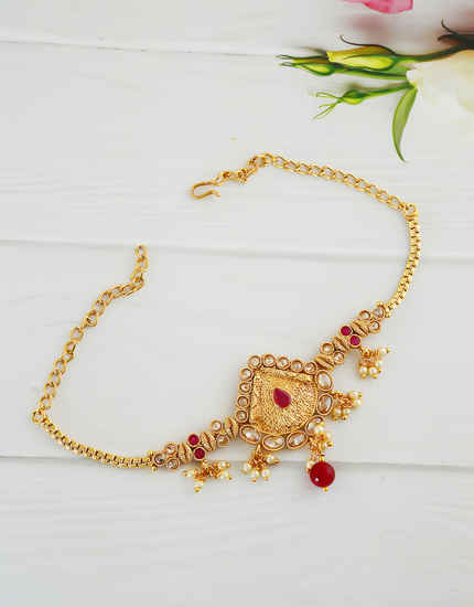 Red Colour Gold Finish Fancy Stunning Bajuband