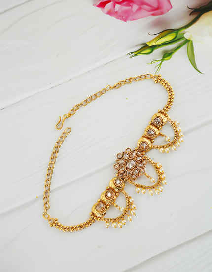 Floral Design Gold Finish Styled With Pearls Beads Bajuband