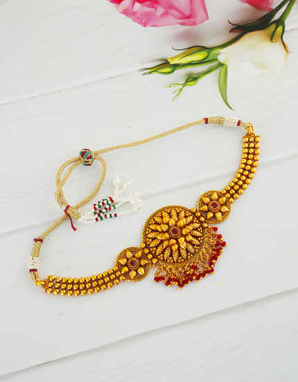 Red Colour Matte Gold Finish Fancy South Indian Armlet Jewellery