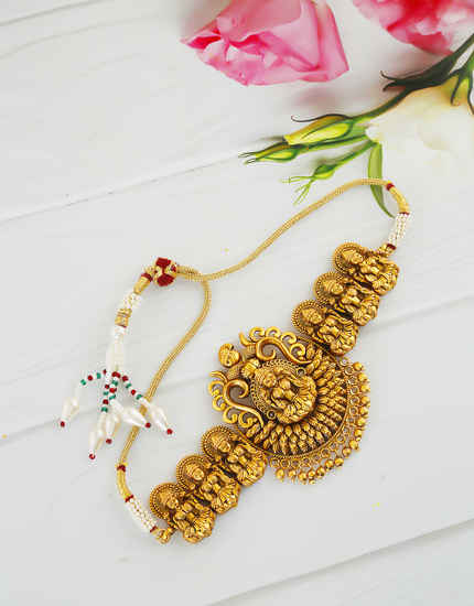 Matte Gold Finish Temple Jewellery Armlet For Girls