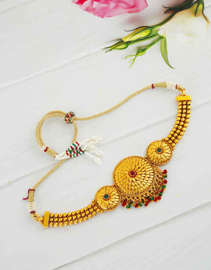 Multi Colour Matte Gold Finish Styled With Beads Fancy Bajuband