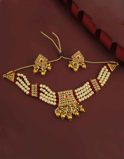 Red Colour Gold Finish Styled With Pearls Beads Chokar Necklace
