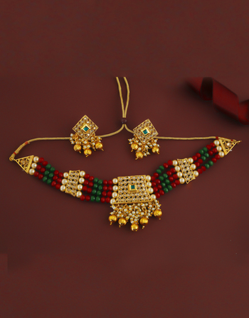 Multi Colour Gold Finish Traditional Chokar Necklace Jewellery
