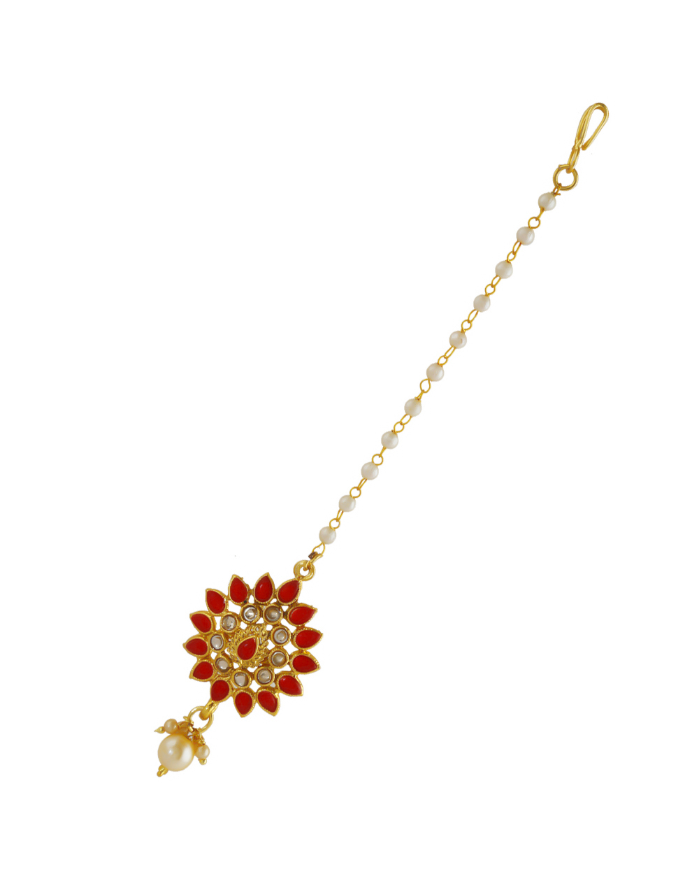 Red Colour Gold Finish Fancy Pearls Styled Mang Tikka
