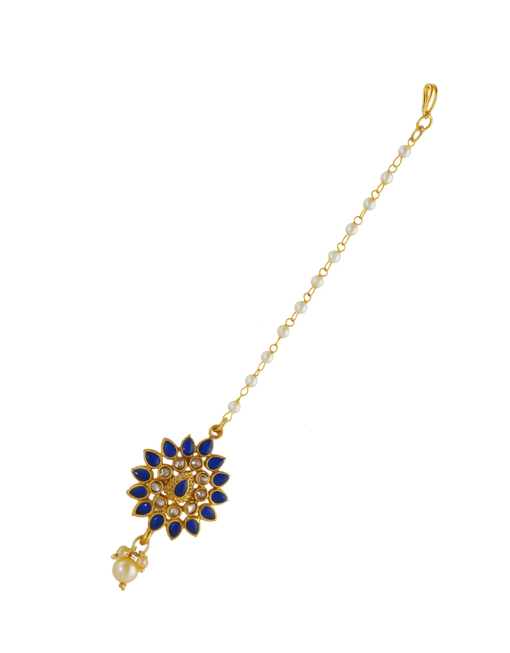 Blue Colour Gold Finish Fancy Traditional Hair Mang Tikka