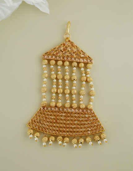 Gold Finish Designer Hair Passa Jewellery For Girls Weddings Wear