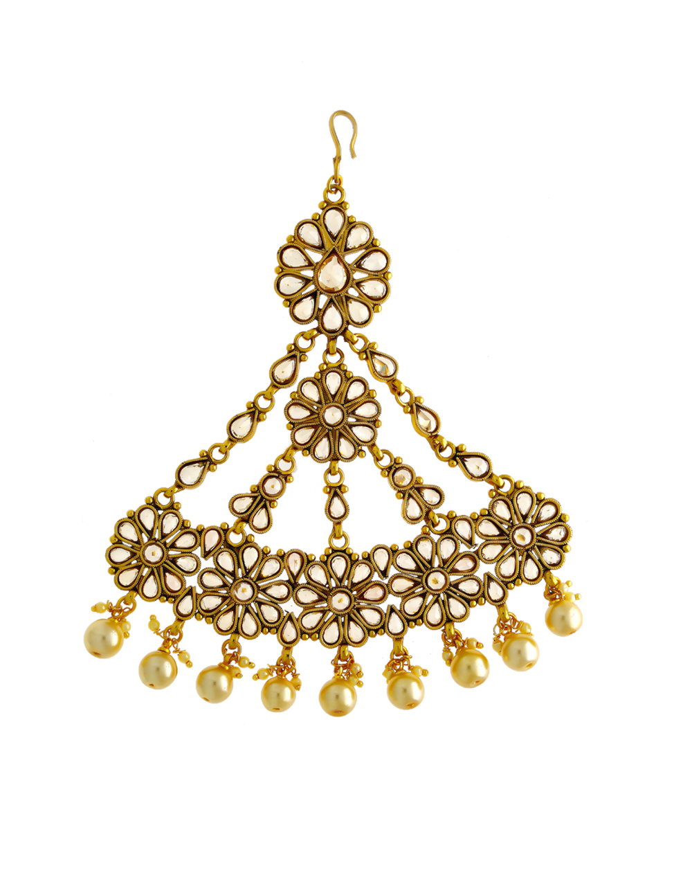 Floral Design Gold Finish Studded With Stones Hair Passa