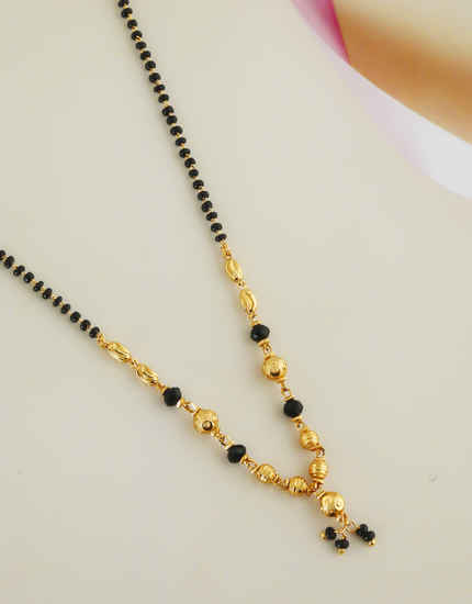 Gold Finish Delicate Short Mangalsutra For Women