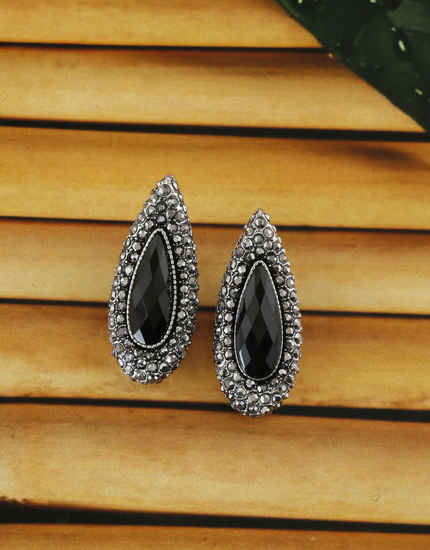 Black Colour Silver Finish Studded With Stones Korean Stud