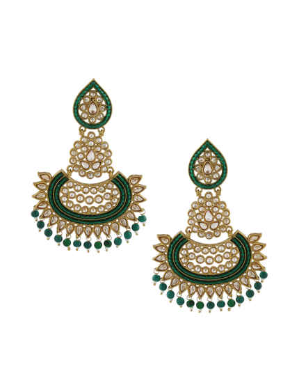 Green Colour Antique Gold Finish Earrings For Weddings