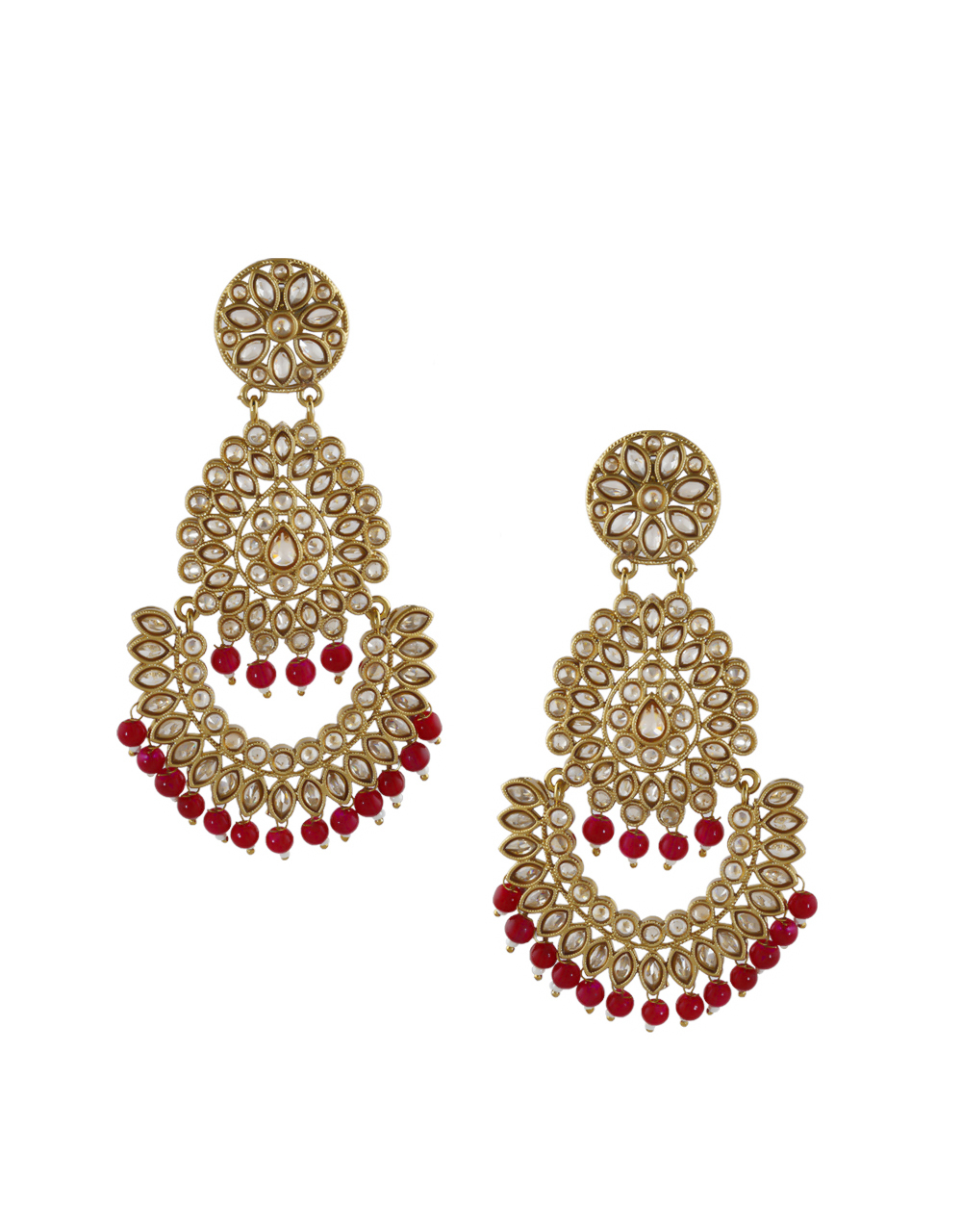 Red Colour Gold Finish Fancy Stunning Long Earrings For Women