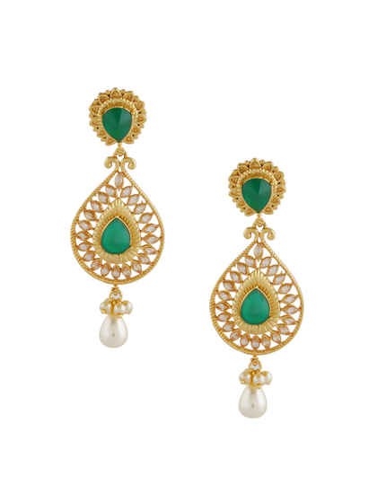 Gold Finish Green Colour Fancy Earrings For Women