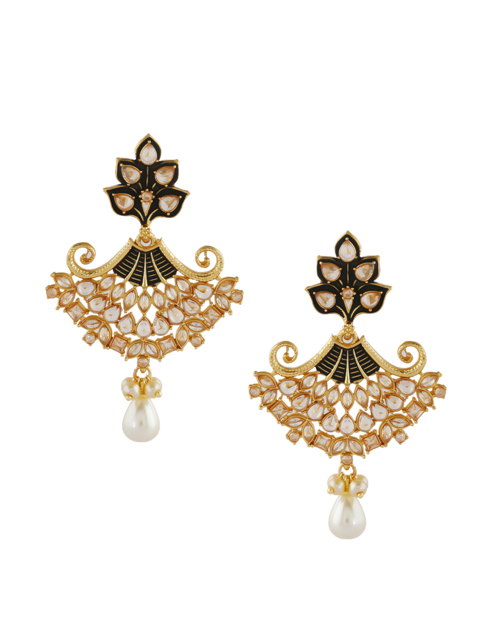Black Colour Gold Finish Traditional Earrings For Women