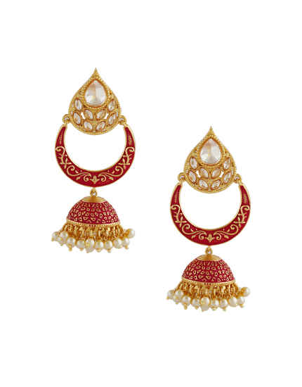 Pink Colour Gold Finish Earrings Styled With Moti Beads Jhumkies