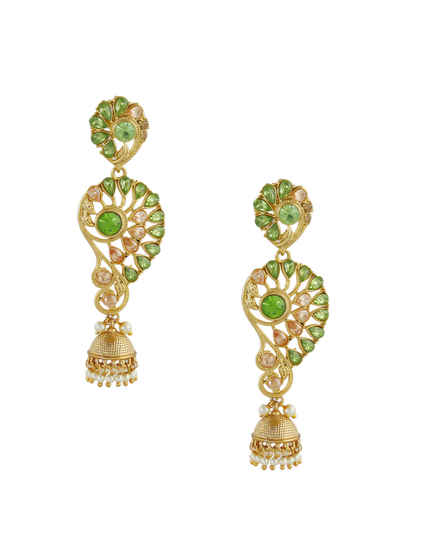 Green Colour Gold Finish Stunning Earrings For Girls