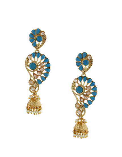 Blue Colour Gold Finish Moti Styled Fancy Jhumkies For Women
