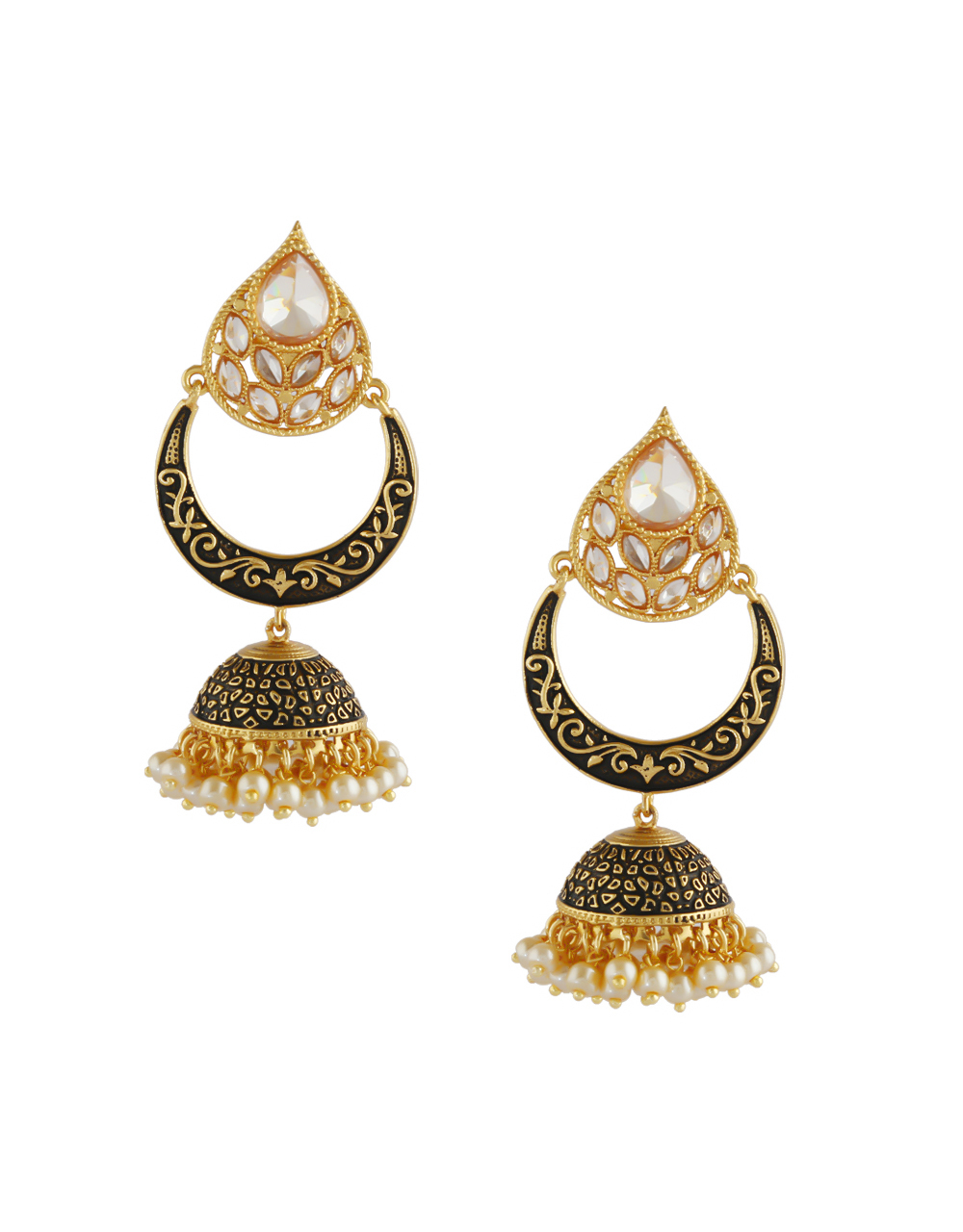 Black Colour Gold Finish Chandbali Jhumkies Earrings