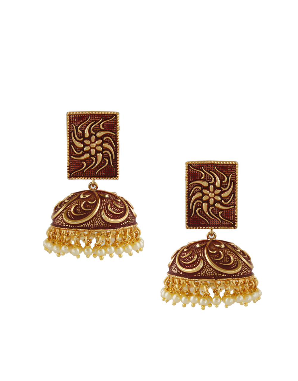 Designer Brown Colour Gold Finish Pearls Styled Fancy Earrings