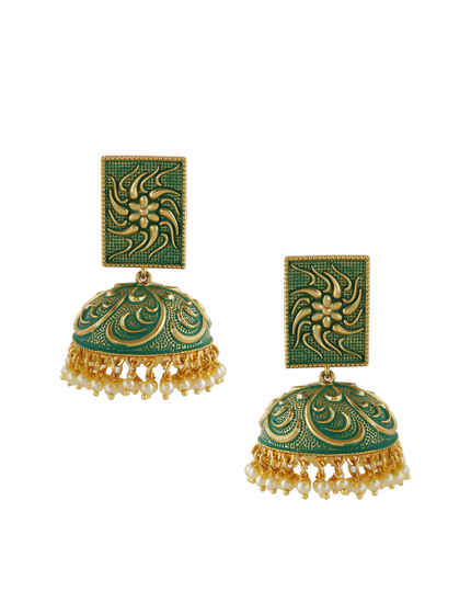 Green Colour Gold Finish Earrings For Fancy Wear