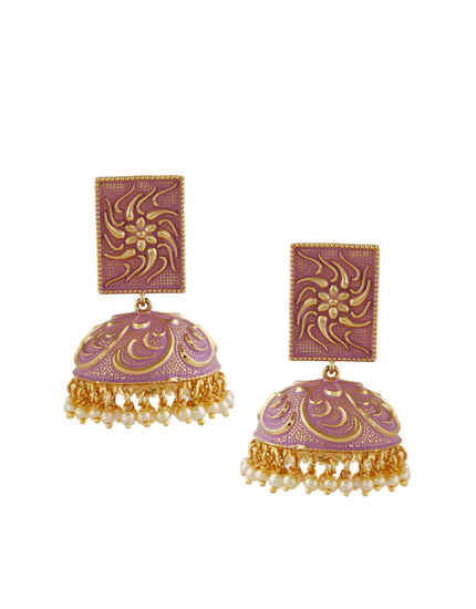 Purple Colour Gold Finish Traditional Earrings Jhoomkaa