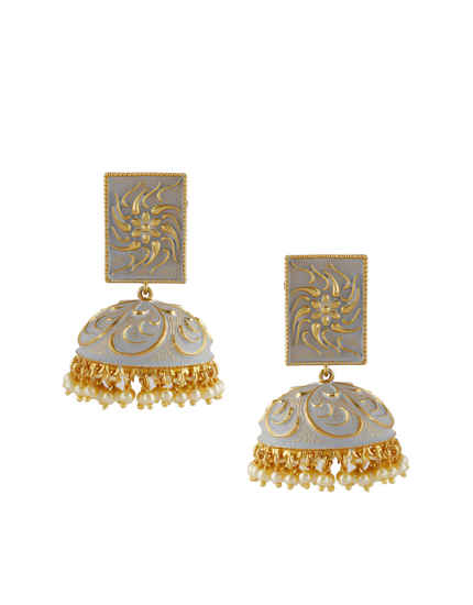 Grey Colour Gold Finish Adorable Jhoomkaa Earrings