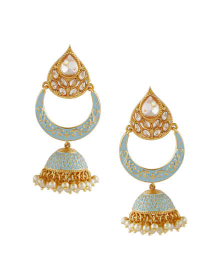 Gold Finish Chandbali Zumkies Earrings For Women Fancy