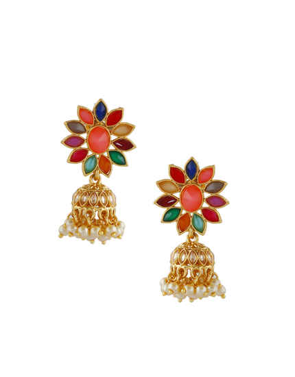 Multi Colour Gold Finish Pearls Styled Earrings Zumkies