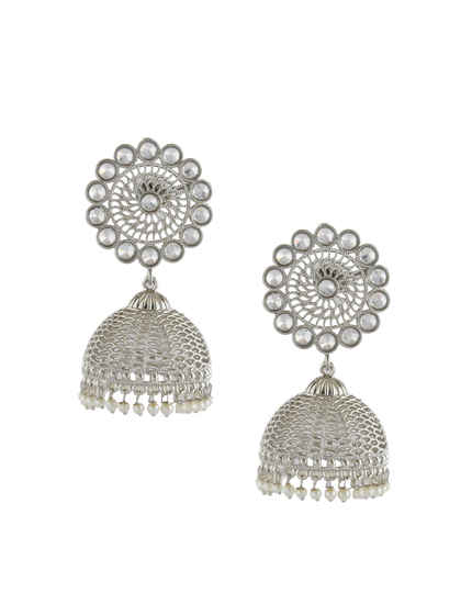 Silver Finish Round Shape Designer Stunning Earrings For Women