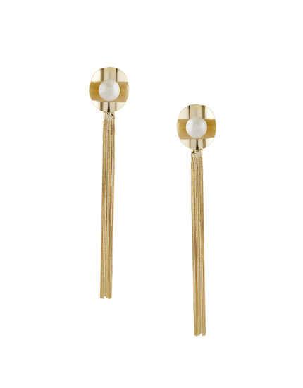Gold Finish Long Western Earrings For Girls