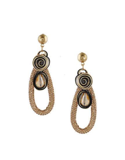 Black Colour Gold Finish Korean Earrings