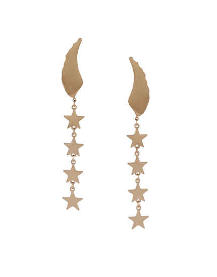 Rose Gold Finish Star Design Styled Korean Earrings