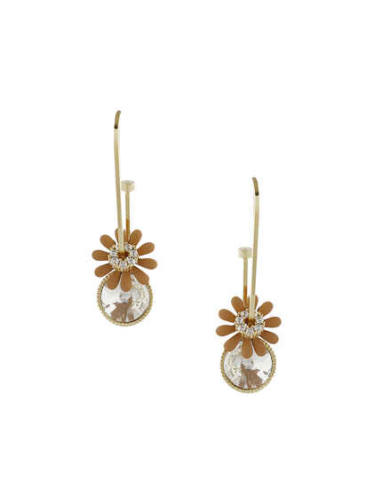 Floral Design Orange Colour Korean Earrings