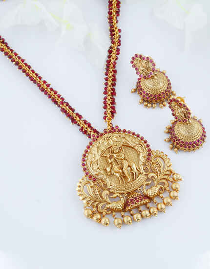 Pink Colour Temple Design Necklace Jewellery