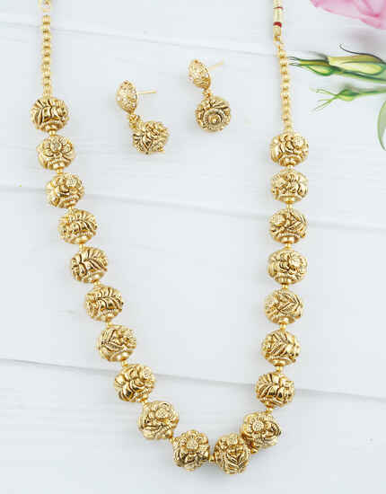 Gold Finish Beads Mala For Traditional Jewellery