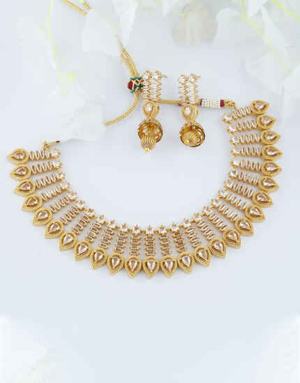 Gold Finish Studded With Stones Necklace For Girls