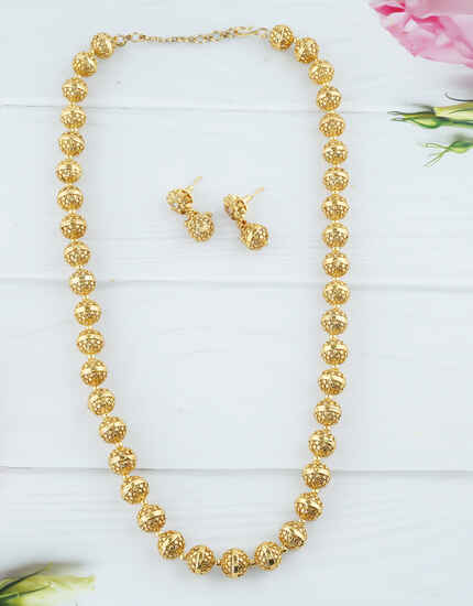 Simple Gold Finish Beads Styled Mala For Women
