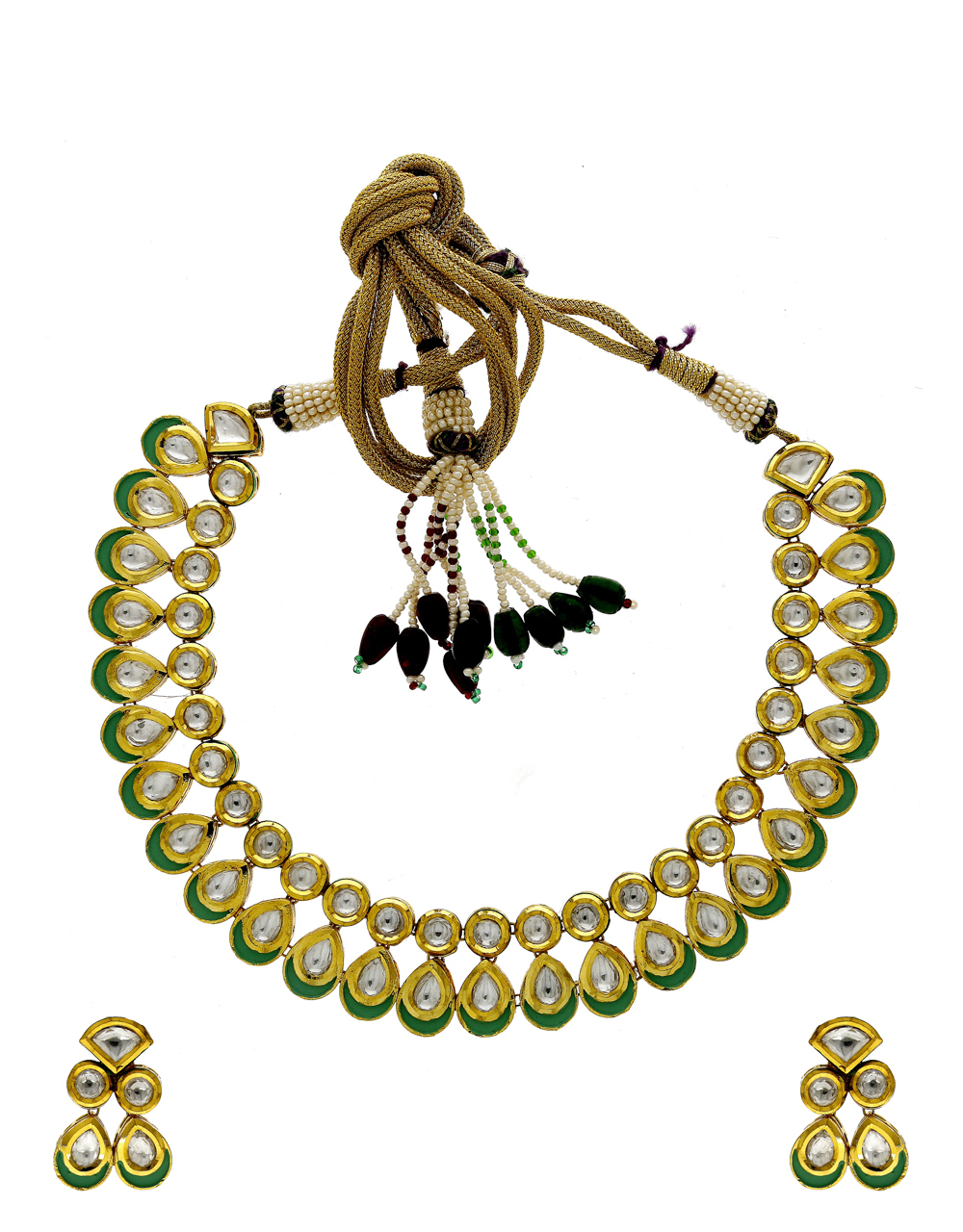 Green Colour Gold Finish Kundan Necklace Jewellery