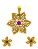 Floral Design Gold Finish Kundan Fancy Pendant Set For Wedding