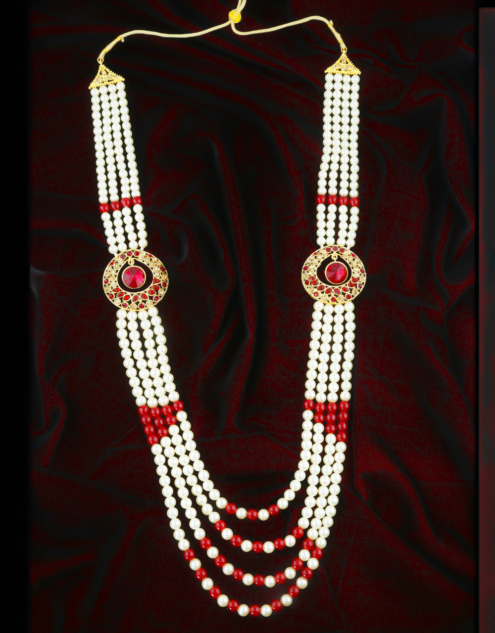 Red Colour Gold Finish Fancy Stunning Groom Jewellery Necklace