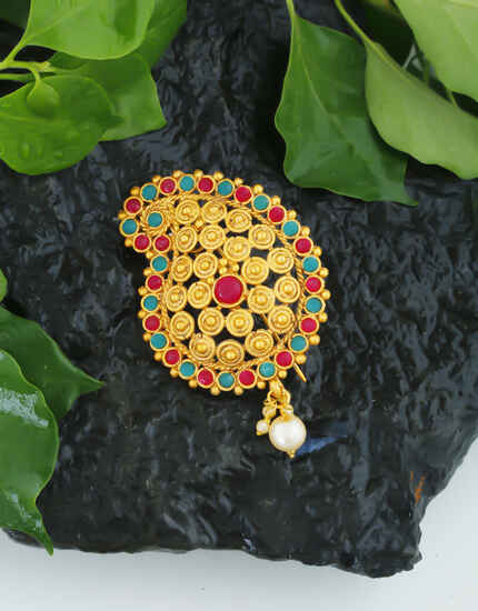 Traditional Gold Finish Multi Colour Hair Brooch