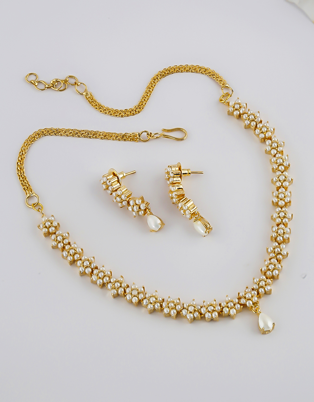 Gold Finish Moti Necklace Jewellery For Women